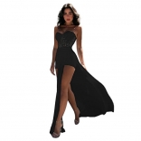 Black Off-Shoulder Lace Hollow-out Sexy Maxi Dress