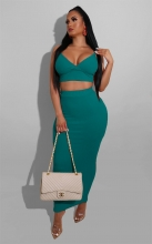 Green Sleeveless Halter V-Neck 2PCS Bodycons Midi Dress