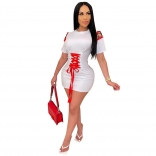 White Short Sleeve Belt Bandage Sexy Mini Dress