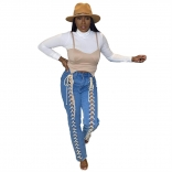 Blue Women Bandage Jeans Trousers