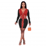Red Long Sleeve V-Neck 2PCS Women Sexy Mini Dress