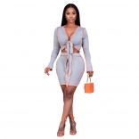 Gray Long Sleeve V-Neck 2PCS Women Sexy Mini Dress