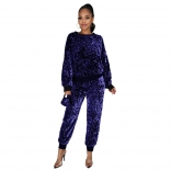 Blue Long Sleeve O-Neck Sequins 2PCS Jumpsuit with Mask