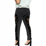 Black Hollow-out Jeans Lace Women Trousers