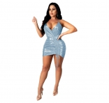 Blue Sleeveless Deep V-Neck Girding Bandage Dress