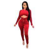 Red Long Sleeve Zipper 2PCS Women Sexy Jumpsuit