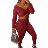 Red Long Sleeve Low-Cut V-Neck Women Fashion Jumpsuit