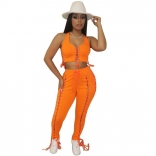 Orange Halter Zipper V-Neck 2PCS Bandage Sexy Jumpsuit