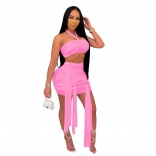 Pink Sleeveless Mesh 2PCS Sexy Club Bandage Mini Dress