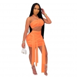 Orange Sleeveless Mesh 2PCS Sexy Club Bandage Mini Dress