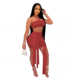 Red Sleeveless Mesh 2PCS Sexy Club Bandage Mini Dress