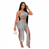 Grey Sleeveless Mesh 2PCS Sexy Club Bandage Mini Dress