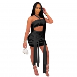 Black Sleeveless Mesh 2PCS Sexy Club Bandage Mini Dress