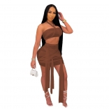 Coffee Sleeveless Mesh 2PCS Sexy Club Bandage Mini Dress