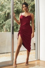 Red Halter Low-Cut Women Backless Sexy Midi Dress