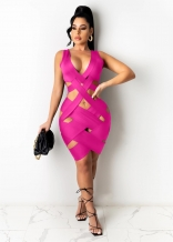 RoseRed Sleeveless Deep V-Neck Hollow-out Bandage Mini Dress