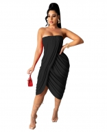 Black Off-Shoulder Sleeveless Women Fashion Midi Dress