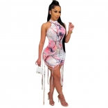White Halter Backless Printed Bandage Women Club Mini Dress