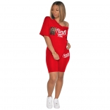 Red Short Sleeve Printed 2PCS Women Sports Sets