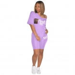Purple Short Sleeve Printed 2PCS Women Sports Sets