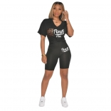 Black Short Sleeve Printed 2PCS Women Sports Sets