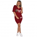 WineRed Short Sleeve Printed 2PCS Women Sports Sets