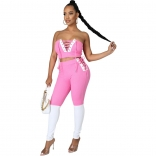 Pink V-Neck Off-Shoulder 2PCS Bandage Sexy Jumpsuit