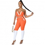 Orange V-Neck Off-Shoulder 2PCS Bandage Sexy Jumpsuit