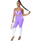Purple V-Neck Off-Shoulder 2PCS Bandage Sexy Jumpsuit
