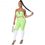 Green V-Neck Off-Shoulder 2PCS Bandage Sexy Jumpsuit