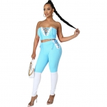 Blue V-Neck Off-Shoulder 2PCS Bandage Sexy Jumpsuit