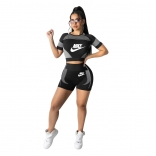 Black Short Sleeve Printed O-Neck Women Sports Sets