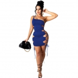 Blue Sleeveless Single Shoulder Sling Hollow-out Clubwear