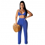 Blue Halter Bras Knitting Hollow-out Sexy Women Jumpsuit
