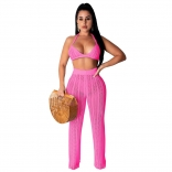 RoseRed Halter Bras Knitting Hollow-out Sexy Women Jumpsuit