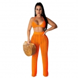 Orange Halter Bras Knitting Hollow-out Sexy Women Jumpsuit