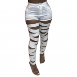 White Hollow-out Bandage Women Long Trousers