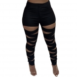 Black Hollow-out Bandage Women Long Trousers
