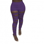 Purple Hollow-out Bandage Women Long Trousers
