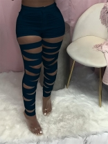 RoyalBlue Hollow-out Bandage Women Long Trousers