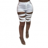 White Hollow-out Bandage Women Short Trousers