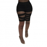 Black Hollow-out Bandage Women Short Trousers