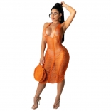 Orange Sleeveless Hollow-out V-Neck Sexy Clubwear