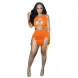 Orange Sleeveless Chains Hollow-out 2PCS Women Bandage Mini Dress