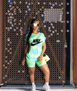 Green NB Short Sleeve Printed 2PCS Sports Dress Set