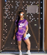 Purple NW Short Sleeve Printed 2PCS Sports Dress Set