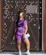 Purple NB Short Sleeve Printed 2PCS Sports Dress Set