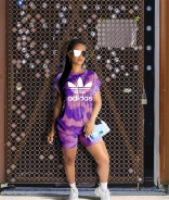 Purple AW Short Sleeve Printed 2PCS Sports Dress Set