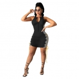 Black Sleeveless V-Neck Zipper Bangdage Mini Dress
