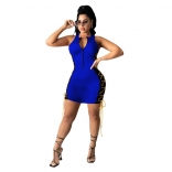 Blue Sleeveless V-Neck Zipper Bangdage Mini Dress